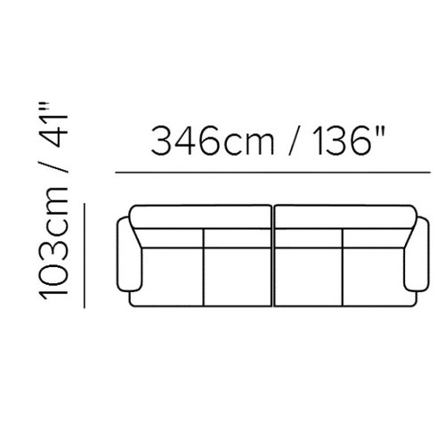 "Layout C:  Two Piece Sectional - 41"" x 136"""