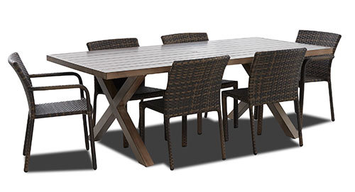 "Crossroads 86"" X 42"" Rect Dining Table 7 Piece Set"
