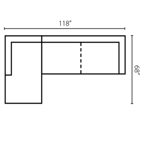 "Layout B:  Two Piece Sectional 68"" x 118"""