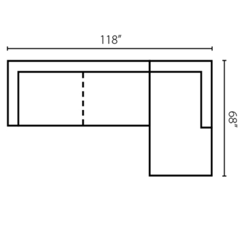 "Layout A: Two Piece Sectional 118"" x 68"""