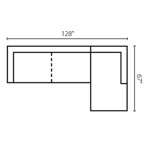 "Layout G:  Two Piece Sectional 128"" x 67"""