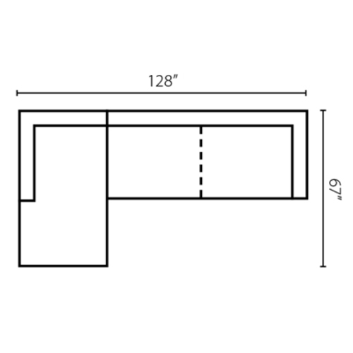 "Layout H:  Two Piece Sectional 67"" x 128"""