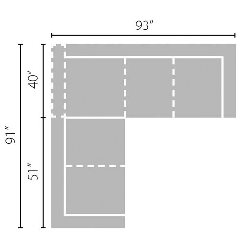 "Layout A: Two Piece Sectional - 91"" x 93"""