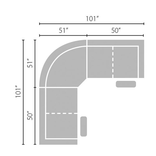 "Layout C: Three Piece Reclining Sectional with Two Power Headrest Recliners - 101"" x 101"""