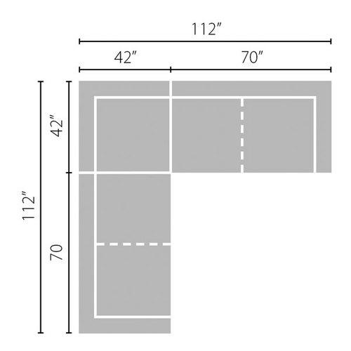 "Layout A:  Three Piece Sectional - 112"" x 112"""