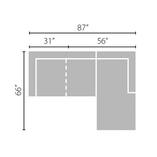 "Layout B: Two Piece Sectional (Chaise Right Side) - 87"" x 66"""