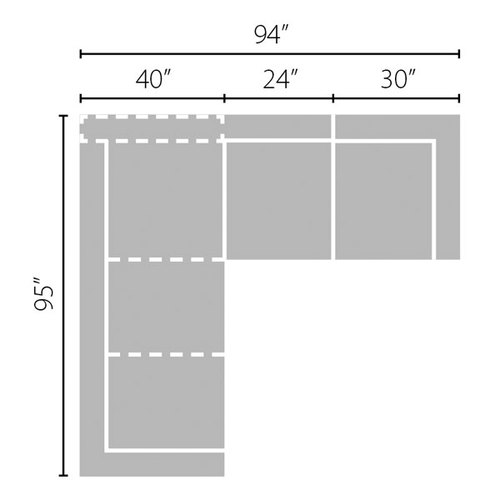 "Layout B: Two Piece Sectional 95"" x 94"""