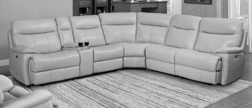 Parker Living Dylan Crème Leather 6pc Reclining Sectional with Power Headrests