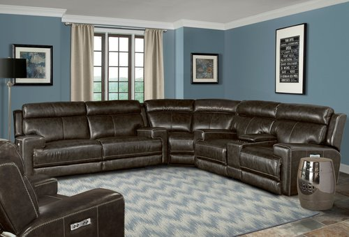 Parker Living Glacier Graphite 3pc Leather Reclining Sectional