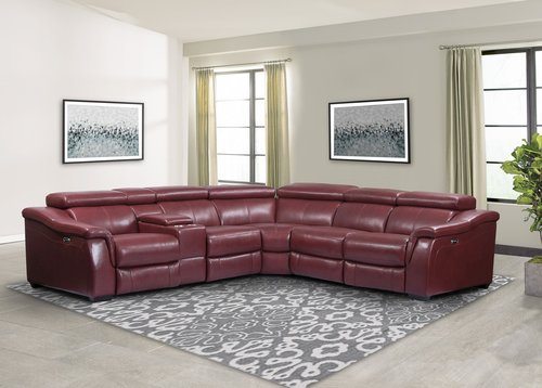 Parker Living Newton Crimson 6pc Leather Power Reclining Sectional