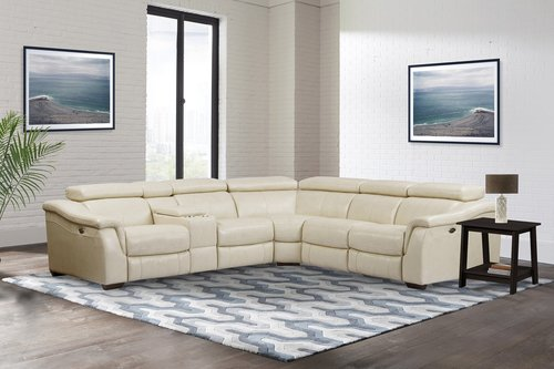 Parker Living Newton Oatmeal 6pc Leather Power Reclining Sectional