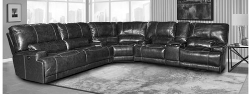 Steele Twilight 3pc Leather Power Reclining Sectional with Power Headrest