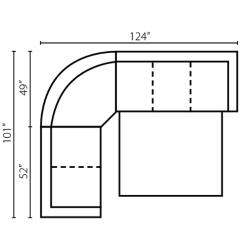 "Layout A: Three Piece Full Size Sleeper Sectional 101"" x 124"""