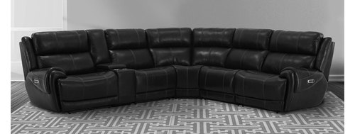 Spencer Cavern 6pc Leather Reclining Sectional with Power Headrests