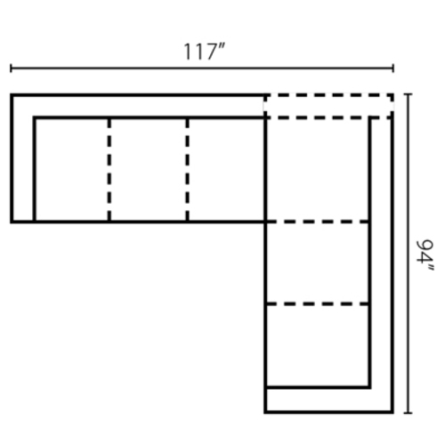"Layout E: Two Piece Sectional 117"" x 94"""