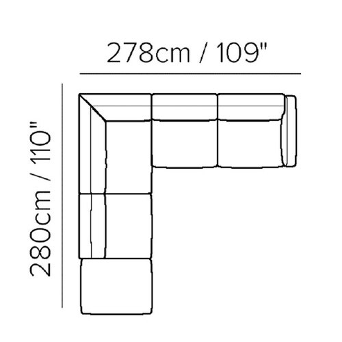 "Layout C: Three Piece Sectional - 110"" x 109"""