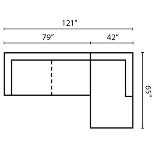 "Layout I:  Two Piece Sectional 121"" x 65"""