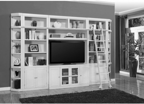BOCA 7PC LIBRARY ENTERTAINMENT WALL SET IN COTTAGE WHITE