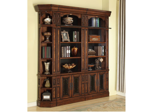"Leonardo 4 Piece Library Bookcase Wall (97"" Wide)"