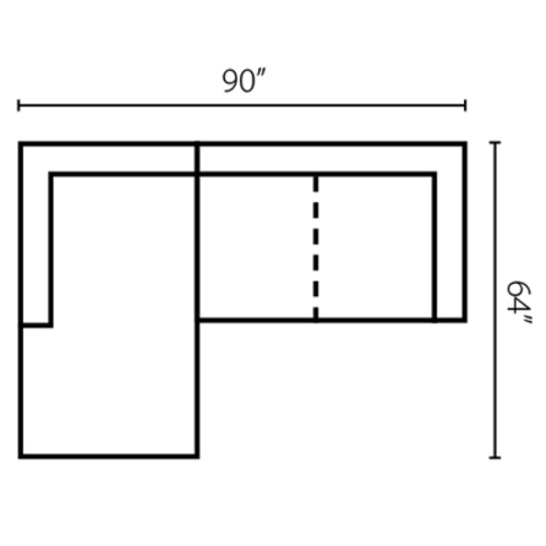 "Layout H:  Two Piece Sectional 64"" x 90"""