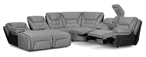 "Layout B: Centennial 5 Piece Reclining Sectional (Chaise Left Side) 90"" x 124"" x 108"""