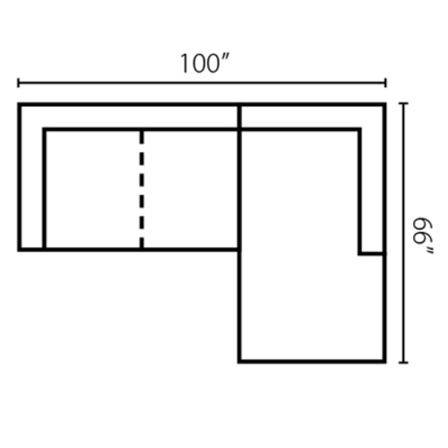 "Layout G:  Two Piece Sectional 100"" x 66"""