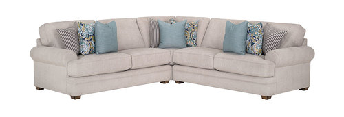 "Layout A: Zareen Transitional 3 Piece Sectional 100"" x 100"""