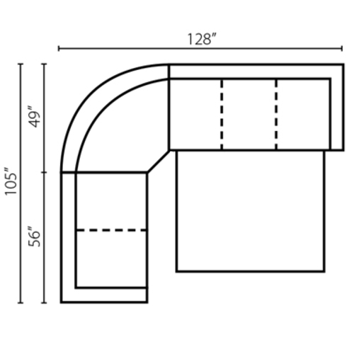 "Layout B: Three Piece Sleeper Sectional 105"" x 128"""