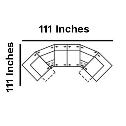 "Layout D:  Six Piece Home Theater Sectional 111"" x 111"""