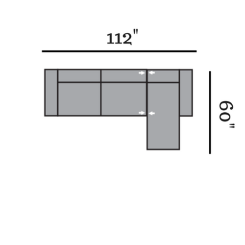 "Layout D:  Two Piece Sectional 112"" x 60"""