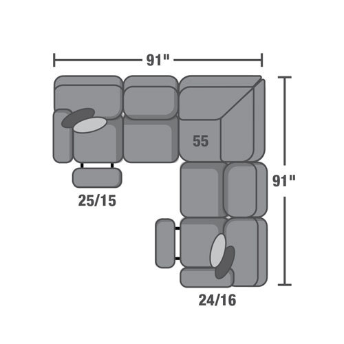"Layout A:  Three Piece Reclining Sectional - 91"" x 91"""