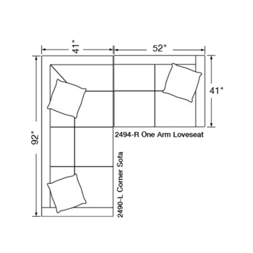 "Layout A:  Two Piece Sectional (92"" x 93"")"