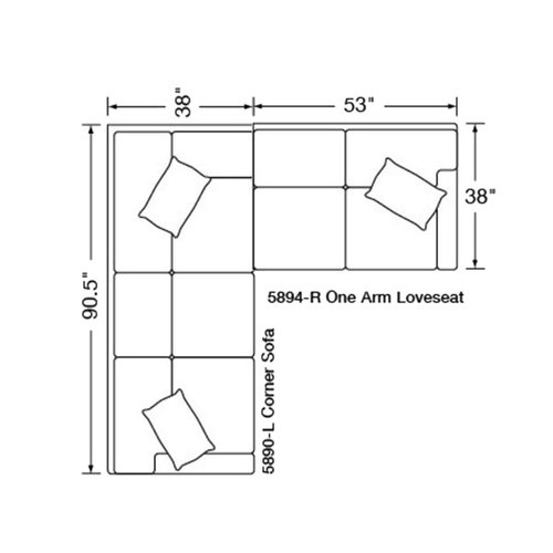 "Layout C:  Two Piece Sectional: (90.5"" x 91"")"