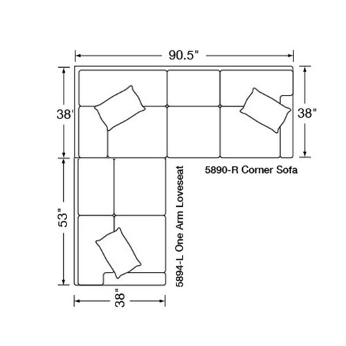 "Layout D:  Two Piece Sectional: (91"" x 90.5"")"