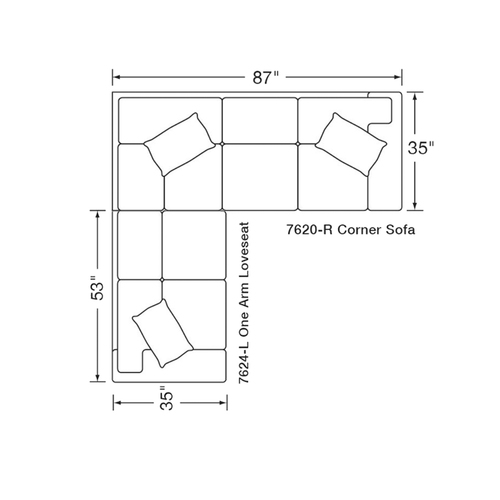 "Layout A: Two Piece Sectional (88"" x 87"")"