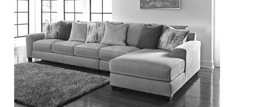 "Layout A:  Three Piece Sectional (Chaise Left Side) 123"" x 71"""