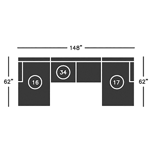 "Layout C:  Three Piece Sectional  62"" x 148"" x 62"""