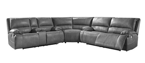 "Layout A: Three Piece Leather Power Recline Power Headrest Sectional - 124"" x 121"""