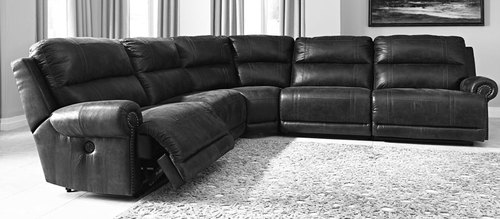"Layout A:  Five Piece Reclining Sectional - 135"" x 135"""