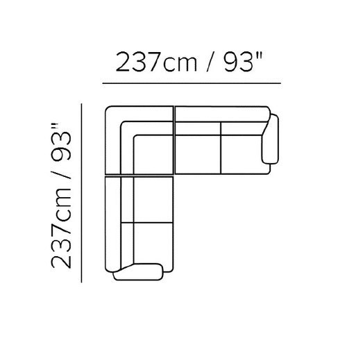 "Layout E: Three Piece Sectional - 93"" X 93"""