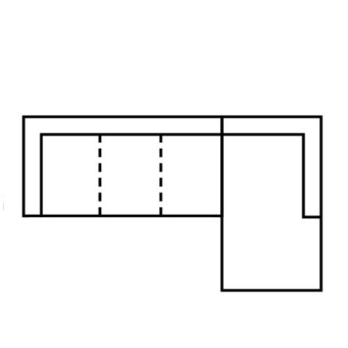 "Layout C:  Two Piece Sectional (Chaise Right Side) - 121"" x 82"""