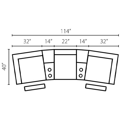 "Layout A:  Five Piece Sectional (3 Recliners) 40"" x 114"""