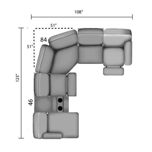 "Layout D: Six Piece Reclining Sectional - 123"" x 108"""