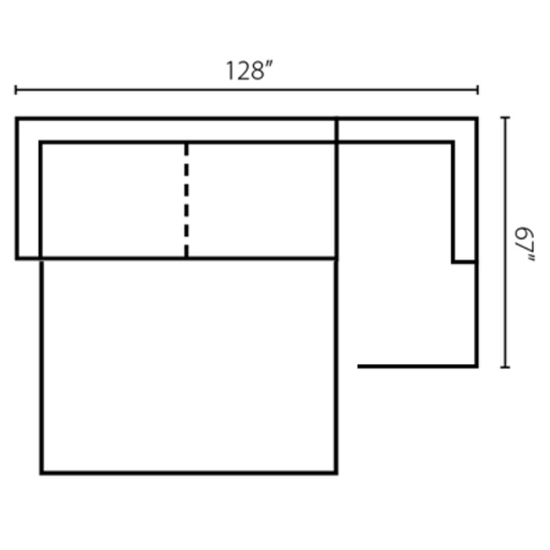 "Layout C: Two Piece Sleeper Sectional (Sleeper Left Side) 128"" x  67"""