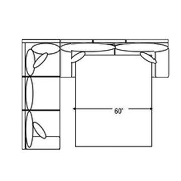 "Layout B:  Two Piece Sleeper Sectional (Sleeper Right Side) 92"" x 116"""