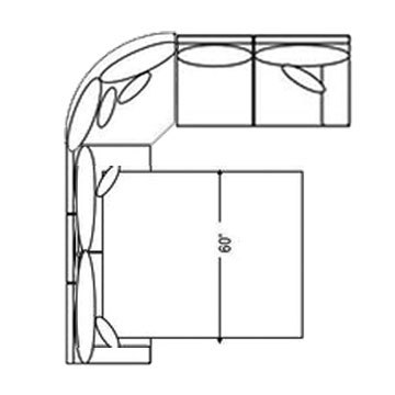 "Layout B:  Two Piece Sleeper Sectional 121"" x 98"""