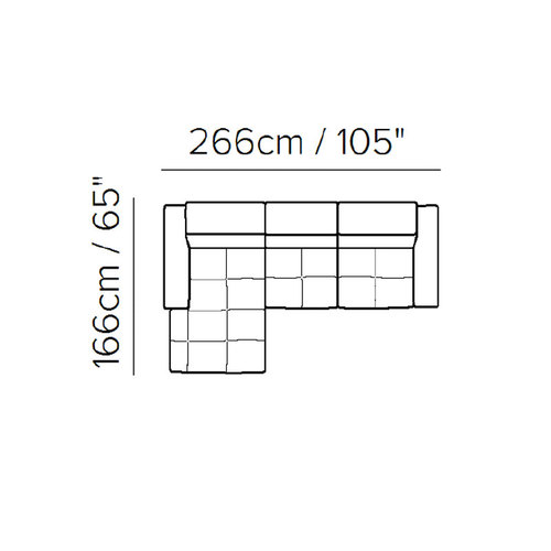 "Layout D:  Two Piece Sectional - 105"" x 65"""