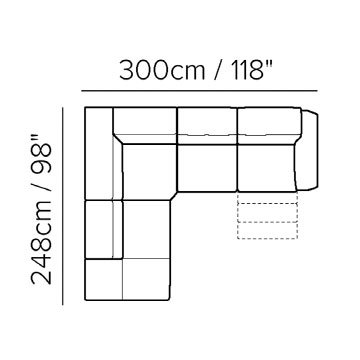"Layout B: Two Piece Reclining Sectional - 98"" x 118"""