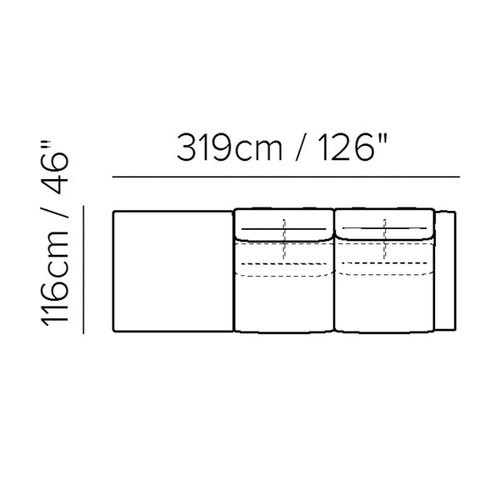 "Layout F: Two Piece Sectional  - 46"" x 126"