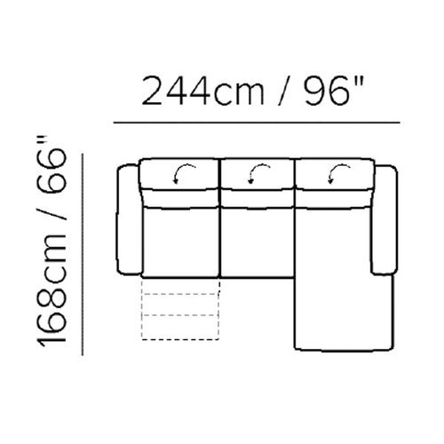 "Layout A: Two Piece Sectional - 66"" x 96"""